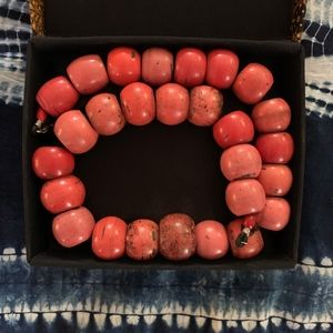Vintage Jewelry - Tibet Antique Glass Coral Wedding Necklace